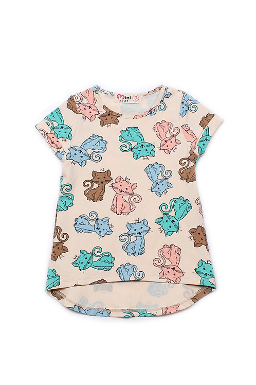 Cats Print T-Shirt CREAM (Girl's Top)