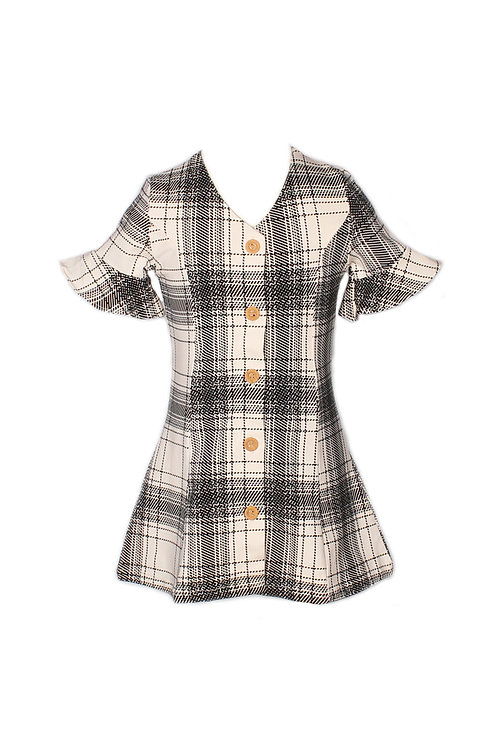 Checkered Button Down Dress WHITE (Girl's Dress)