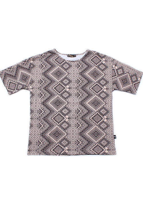 Aztec Design Print Blouse BLACK (Ladies' Top)