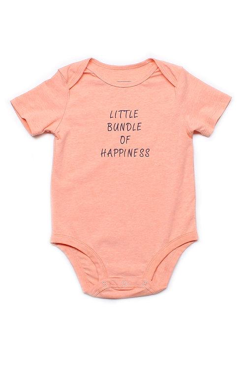 LITTLE BUNDLE OF HAPPINESS Romper ORANGE (Baby Romper)