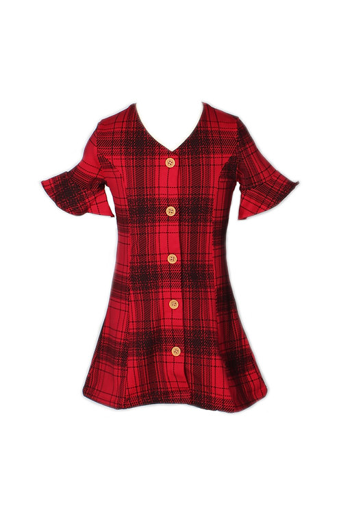 Checkered Button Down Dress RED (Girl's Dress)