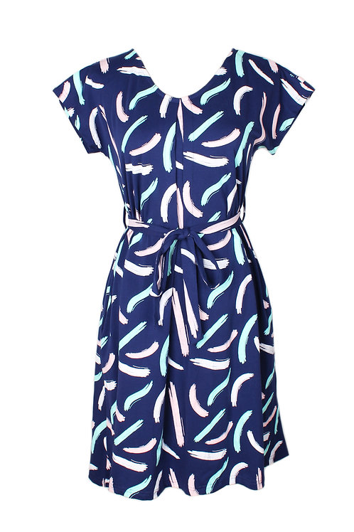Pastel Paint Brush Print Flare Dress NAVY (Ladies' Dress)