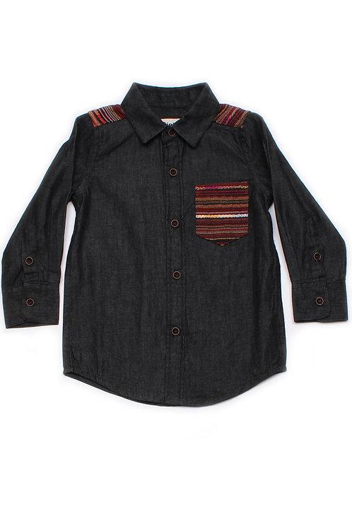 Aztec Embroidered Yoke Long Sleeve Shirt BLACK (Boy's Shirt)