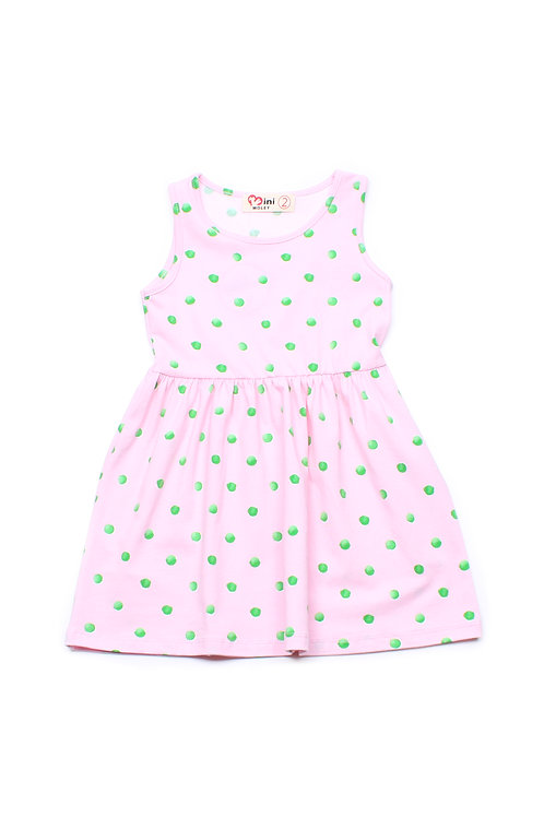 Water Coloured Polka Dot Print Dress PINK (Girl's Dress)