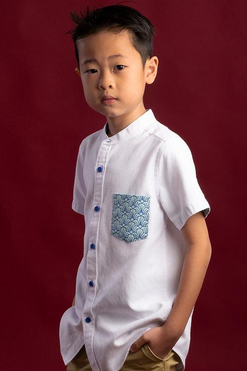 Seashell Print Pocket Mandarin Collar Short Sleeve Shirt WHITE (Boy's Shirt)