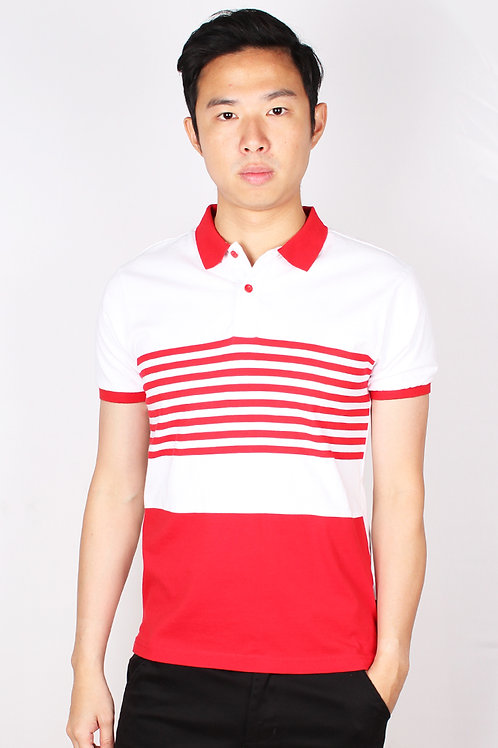 Striped Colour Block Polo T-Shirt RED (Men's Polo)