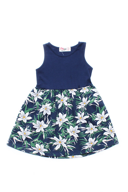 Floral Print Dress NAVY (Girl's Dress)