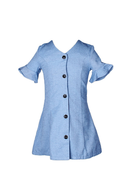 Brushed Cotton Button Down Dress DARKBLUE (Girl's Dress)