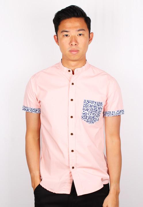 1a02649e Tribal Pocket Mandarin Collar Short Sleeve Shirt PINK (Men's Shirt)