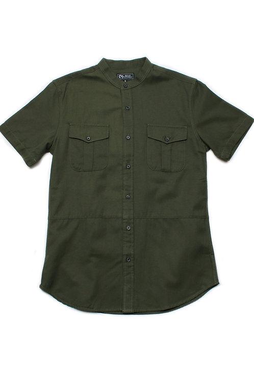 Brushed Cotton Twin Pocket Short Sleeve Shirt GREEN (Men's Shirt)