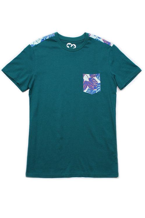 Neon Botaanical Print T-Shirt TURQUOISE (Men's T-Shirt)
