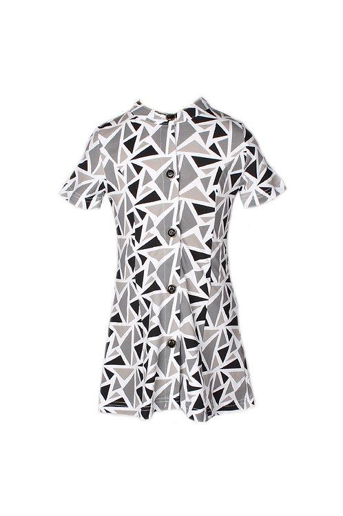 Geometric Triangles Print Button Down Dress GREY (Girl's Dress)
