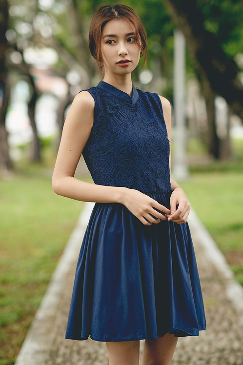 Oriental Cheongsam Inspired Lace Dress NAVY (Ladies' Dress)