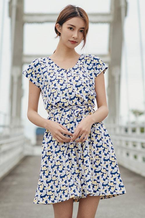 Floral Print Flare Dress YELLOW (Ladies' Dress)