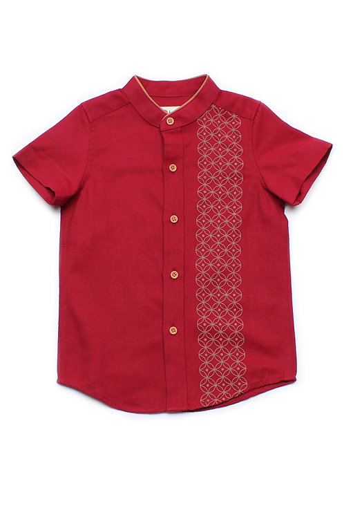Oriental Rings Print Mandarin Collar Short Sleeve Shirt RED (Boy's Shirt)