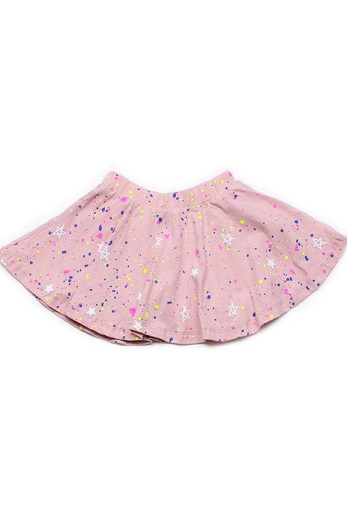 Stars and Splatter Print Skirt PINK (Girl's Bottom)