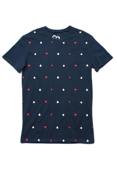 Card Suit Print T-Shirt BLUE (Men's T-Shirt)