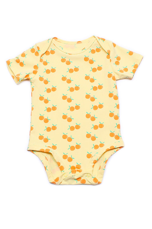 Mandarin Orange Print Romper YELLOW (Baby Romper)