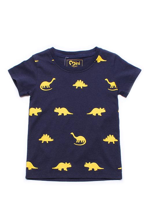 Dinosaurs Print T-Shirt NAVY (Boy's T-Shirt)