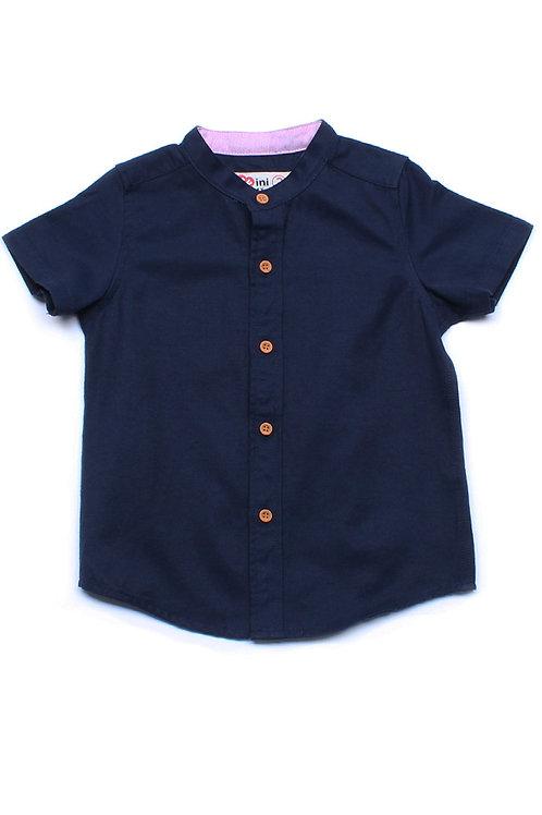 Brushed Cotton Classic Mandarin Collar Short Sleeve Shirt NAVY (Boy's Shirt)