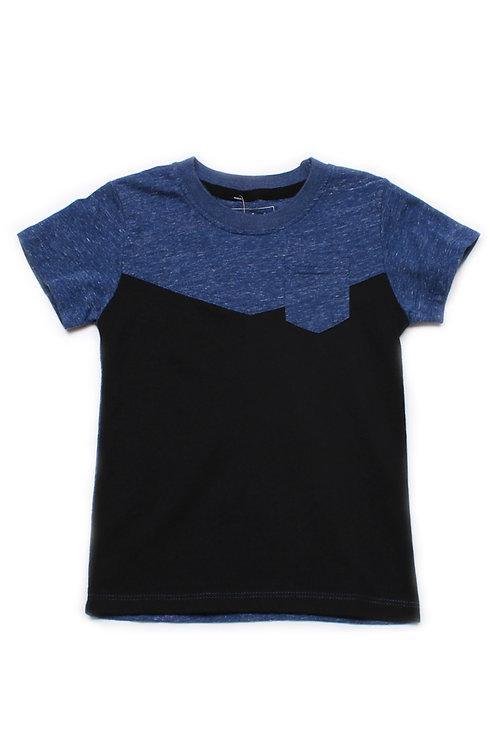 Two-Tone Chevron T-Shirt with Pocket BLUE (Boy's T-Shirt)