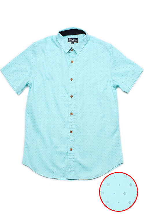 Flower Print Motif Short Sleeve Shirt CYAN (Men's Shirt)