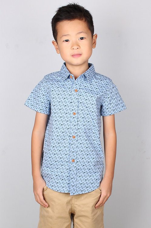 Rose Print Motif Short Sleeve Shirt BLUE (Boy's Shirt)
