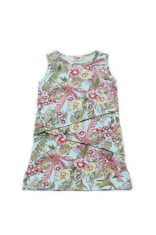 Floral Print Tiered Layered Dress BLUE (Girl's Dress)