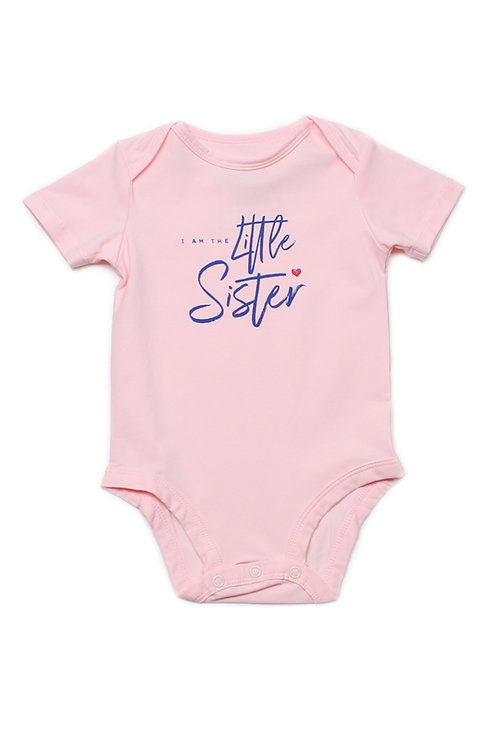 LITTLE SISTER Romper PINK (Baby Romper)