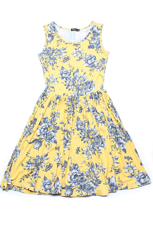 Floral Print Skater Dress YELLOW (Ladies' Dress)