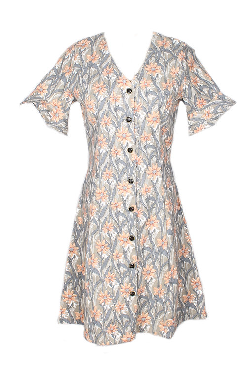 Floral Print Button Down Dress GREY (Ladies' Dress)