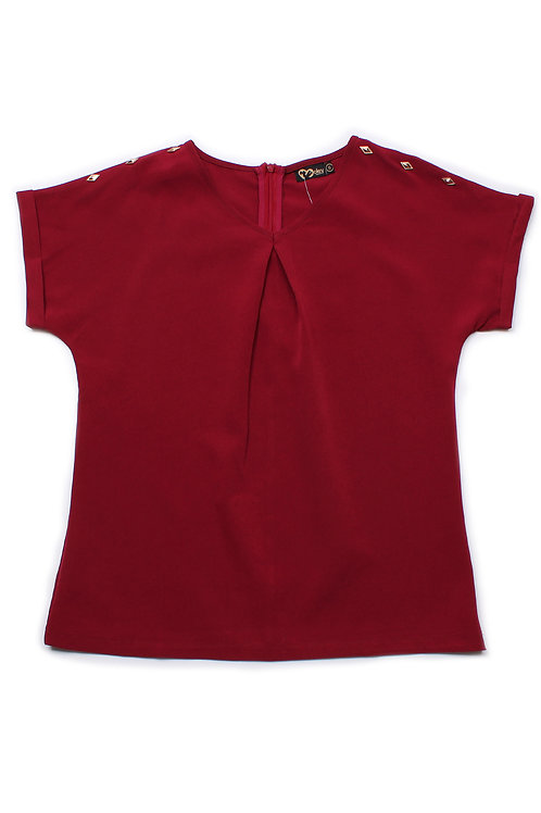 Diamond Shaped Stud Polyester Blouse RED (Ladies' Top)