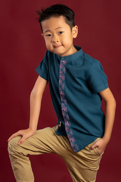 Floral Patterned Print Mandarin Collar Short Sleeve Shirt TURQUOISE (Boy's Shirt