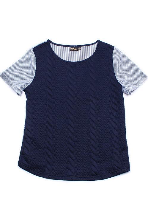 Embossed Texture Patterned Raglan Sleeve Blouse NAVY (Ladies' Top)