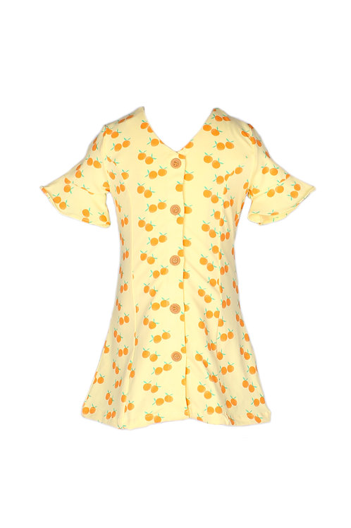 Mandarin Orange Print Button Down Dress YELLOW (Girl's Dress)