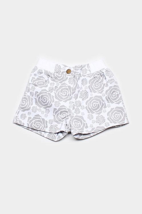 Rose Print Shorts WHITE (Girl's Bottom)
