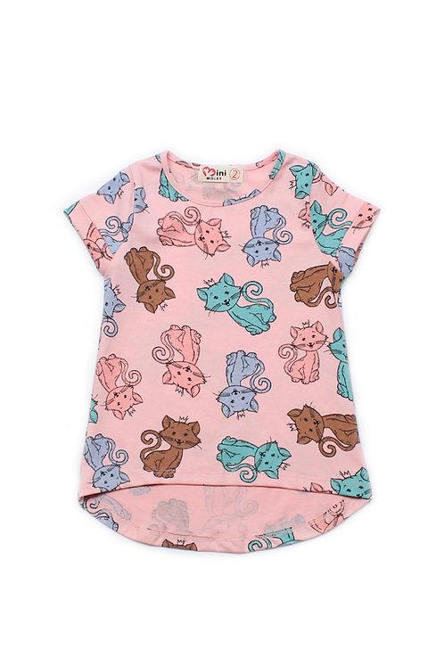 Cats Print T-Shirt PINK (Girl's Top)