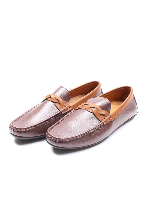 Twine Strap Premium Synthetic Leather Loafer BROWN (Men's Shoes)