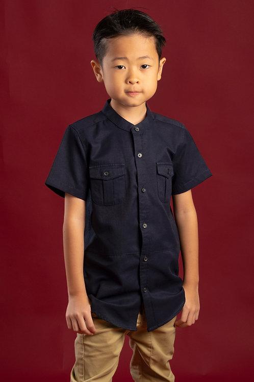 Brushed Cotton Twin Pocket Short Sleeve Shirt NAVY (Boy's Shirt)