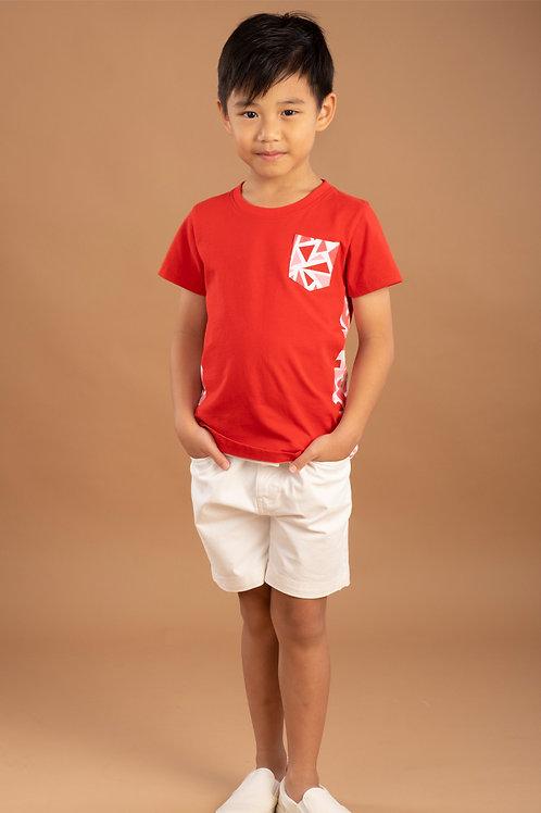 Geometric Triangles Print T-Shirt RED (Boy's T-Shirt)