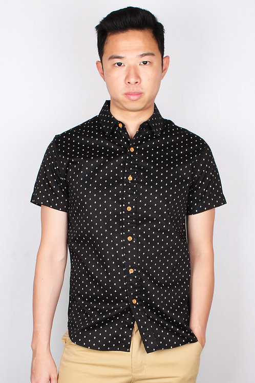 Mini Yacht Motif Design Short Sleeve Shirt BLACK (Men's Shirt)