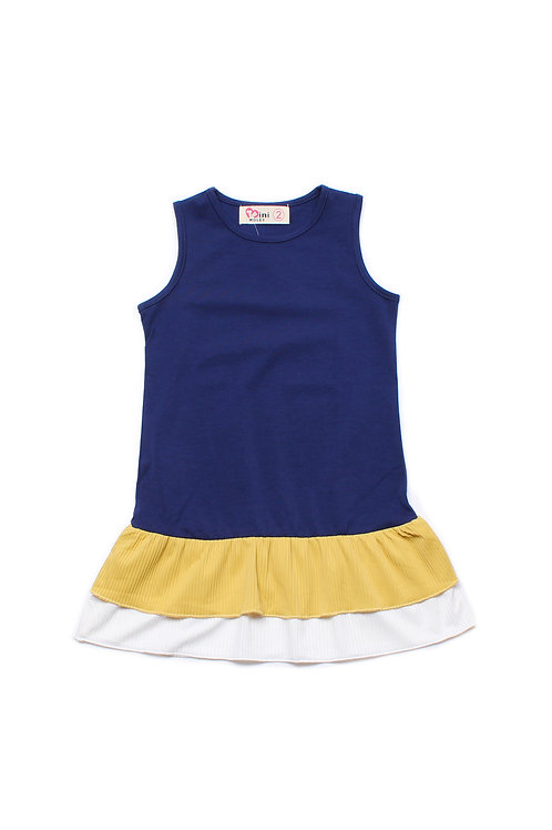 Tiered Ruffle Sleeveless Shift Dress NAVY (Girl's Dress)