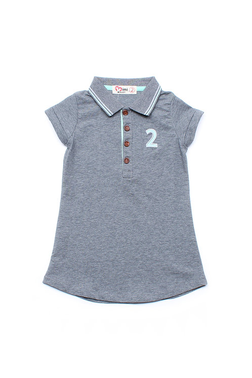 Twin Tipped Polo Shift Dress GREY (Girl's Dress)