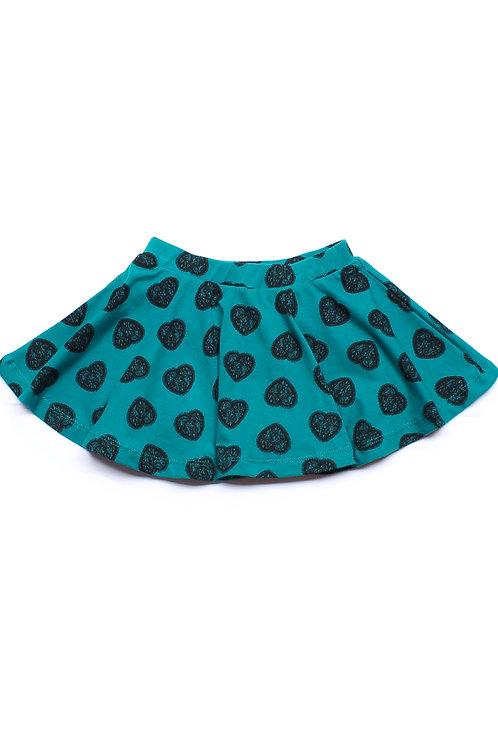 Heart Art Print Skirt GREEN (Girl's Bottom)