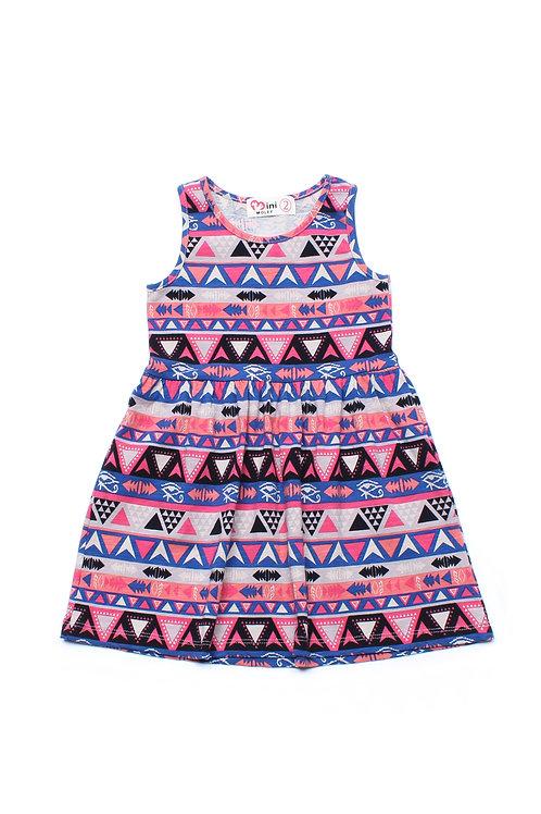 Aztec Print Dress BLACK (Girl's Dress)