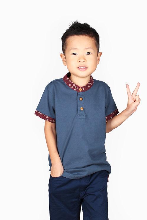 Floral Motif Mandarin Collar Polo T-Shirt BLUE (Boy's T-Shirt)