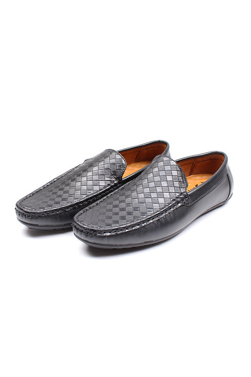 Weave Pattern Loafers BLACK (Men's Shoes)