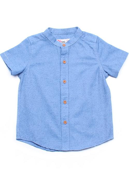 Brushed Cotton Classic Mandarin Collar Short Sleeve Shirt DARKBLUE (Boy's Shirt)