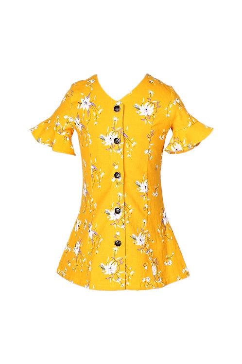 Floral Print Button Down Dress YELLOW (Girl's Dress)