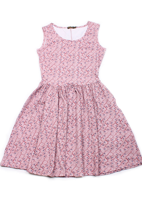 Triangular Geometric Print Skater Dress PINK (Ladies' Dress)